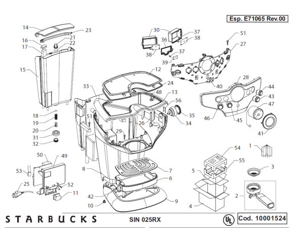 Starbucks Sirena Drawing 1 Espresso Machine Parts