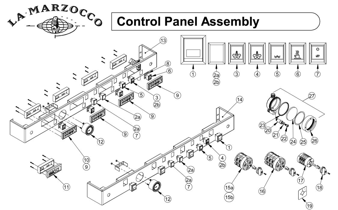 la marzocco espresso machine partsla marzocco control panel assembly drawing a