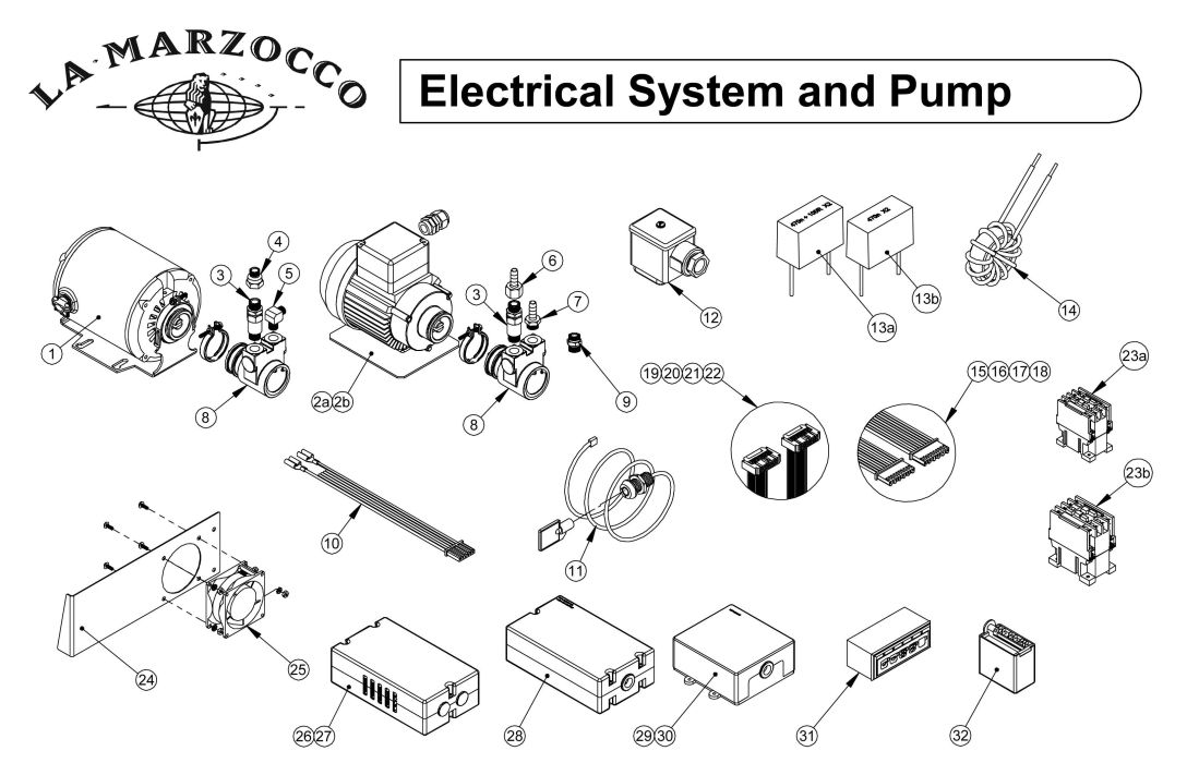 schematic pdf links and manuals espressocare la marzocco electrical system and pump drawing d