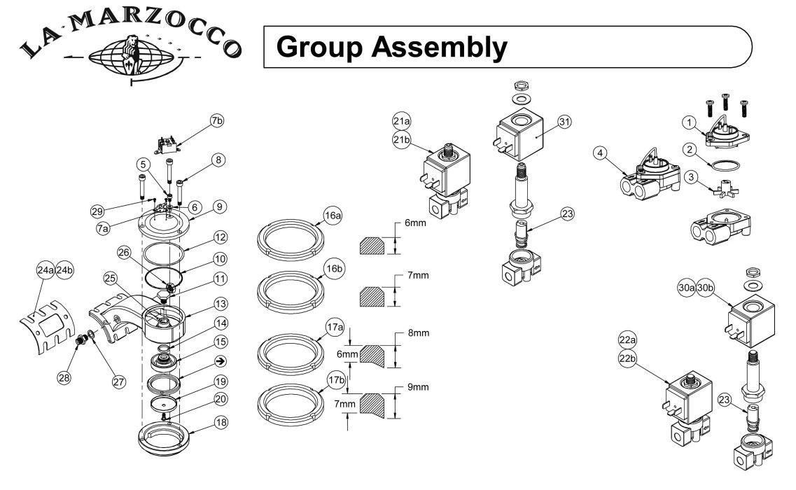 La Marzocco Grouphead Drawing C Espressocare