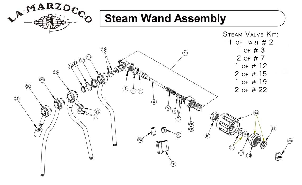 schematic pdf links and manuals espressocare la marzocco steam wand assembly drawing b