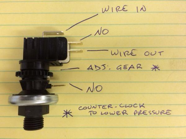 La Pavoni 25332 Adjustable Pressurestat Wiring