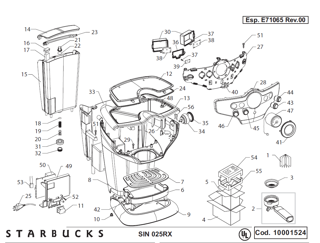 Saeco Starbucks Sirena Schematic Drawing 1 Exploded View